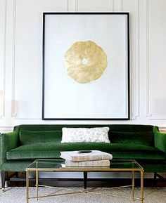 Love this sofa! (and table) (and art) Gainsborough Velvet