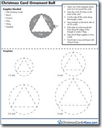 Download the Christmas Card Ball Ornament template and instructions to create your own Christmas cards ball ornament. Its easy, and a great way to recycle.