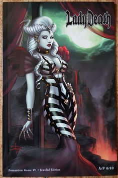 Lady Death Damnation Game - Jeweled Edition and Original Sketch · Sabine Rich's shop · Online Store Powered by Storenvy Fantasy Art Women, Dark Fantasy Art, Fantasy Girl, Fantasy Artwork, Comic Book Characters, Comic Books Art, Fantasy Characters, Comic Book Artists, Character Inspiration