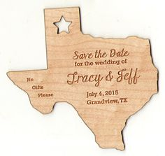 Check out this unique and elegant engraved & cut out state of Texas save the date! Ink Stamps, Name Badges, Tree Wedding, Fort Collins, Save The Date Cards, Fourth Of July, Independence Day, Wood Print, Badges
