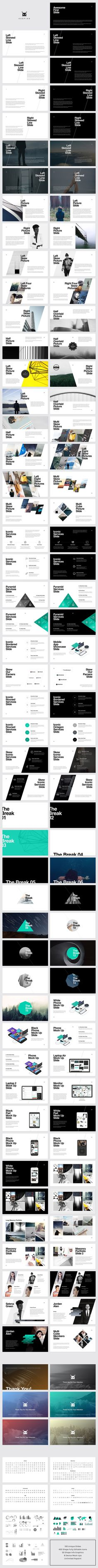 Awesome modern geometric slide deck presentation layout templates. Both dark and light color schemes.