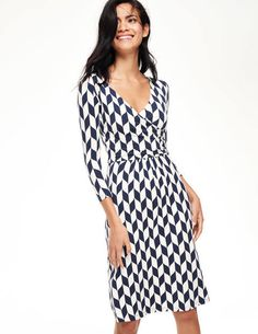 Elena Fixed Wrap Dress WH886 Day Dresses at Boden