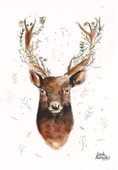 Flowers on the head, full of peace. Deer in Watercolor. By Camila Averbeck. #watercolor #illustration #deer #ilustração #aquarela #art #flowers #animal #cute