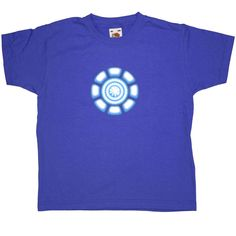 Tony Stark Power Coil Chest Kid's T Shirt - Royal Blue / 7-8 Years