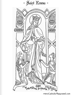 Saint Emma Catholic coloring page!  Yay!  St. Emma images are so hard to come by!  Feast day is June 27