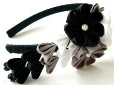 Kanzashi Fabric Flower headband. Kanzashi flower with dangles.  Wedding bridal headpiece. Black, grey and white flower headband.