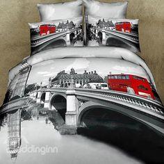 London...günstig 3D Bettwäsche London billig gut preiswert King Size Seide Baumwolle Bed Set 6 Teilig