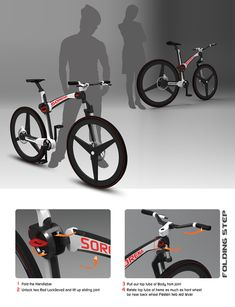 The Sorena folding bike concept uses a clever combination of intuitive locking levers to easily switch between riding and carrying positions. In just four steps it transforms from operable bike to compact carry-on that's easy to manage on the train, bus or walking anywhere you can't ride. The most unique feature is the bike's adjustable length and distance between handlebar to saddle. Riders of any size, sex, or shape can fine-tune their riding position for maximum comfort and efficiency.