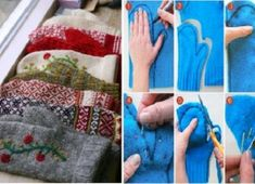 How to Make Sweater Mittens Out of an Old Sweater This is such a cute idea! Now, to find an old sweater! Sweater Mittens, Old Sweater, Wool Sweaters, Diy Moda, Fabric Crafts, Sewing Crafts, Alter Pullover, Craft Projects, Sewing Projects
