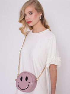 Dahlia Edinburgh Pale Pink Round Smiley Face Bag with Detachable Strap