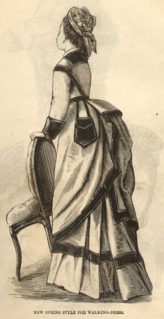 1875 Victorian bustle dress (first period) with an external pocket/ purse attached to the waist belt.