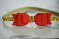 Red Felt Bow on Gold Glitter Elastic Headband Christmas by bloomz