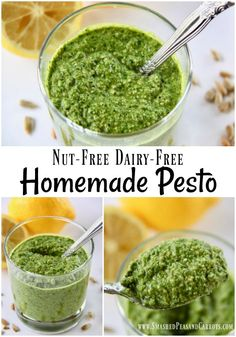 Nut-Free Dairy-Free Pesto Sauce - Smashed Peas & Carrots Make this Nut-Free and Dairy-Free Homemade Pesto that is big on taste and allergy friendly for your next family dinner! Dairy Free Pesto, Vegan Pesto, Dairy Free Recipes, Vegetarian Recipes, Healthy Recipes, Non Dairy Pesto Recipe, Pesto Recipe Without Nuts, Dairy Free Veggie Dip, Healthy Pesto Sauce