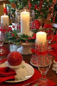 Beautiful Christmas Table  candles glitter sparkle table decorate silver dine setting christmas decorations