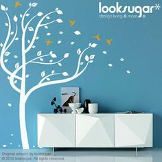 Children Tree Wall Decal with Birds and Leaves in the Wind by look sugar