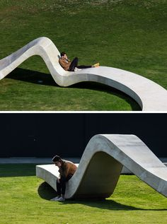 This modern concrete sculpture has been designed to allow people to relax and enjoy the design, with various high and low points creating places to sit or lean. - FAHR Have Designed A New Concrete Sculpture Named 'LOOP' Concrete Bench, Concrete Furniture, Urban Furniture, Street Furniture, Concrete Board, Concrete Design, Architecture Design Concept, Urban Design Concept, Landscape Architecture