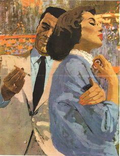 Illustration by Bernie Fuchs Fuchs Illustration, Magazine Illustration, Vintage Romance, Vintage Art, Commercial Art, Art Moderne, Pulp Art, Couple Art, Art Plastique