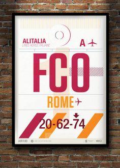 Flight Tag Prints - Rome by Neil Stevens Print Shop