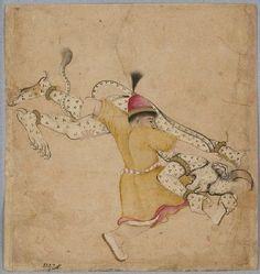 Style: Deccani; Title: 'A hero wrestles a div, or demon', Deccan Plateau, late 17th century