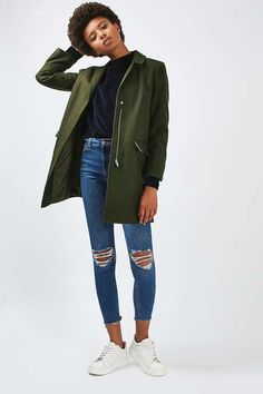 Get ready for Autumn with this slim fit boyfriend coat.