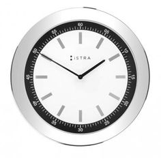 Image of ISTRA Wall Clock In White With Mirrored Index Numbers .ISTRA C47 White