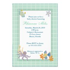 5 x 7 Seaquest Ocean Under the Sea Baby Shower Personalized Invites