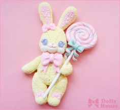 Angelic Bunny Brooch by Dolly House. Angelic Pretty Toy Parade print inspired.