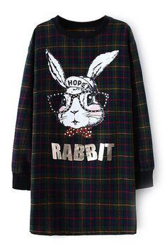 ROMWE   Check Rabbit Print Dress, The Latest Street Fashion