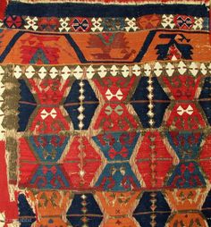 Early East Anatolian Kilim Half,18th century,76x320cm,superb colors,sophisticated,lots of fun,proffessionaly mounted on red linen.