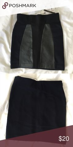 Zara Mini Skirt Zara Mini Skirt in brand new condition. Never worn. Has faux leather panels. Comes in a beautiful dark navy blue color. Pair it with a silk dress shirt and knee high boots and you'll be good to go! Zara Skirts Mini