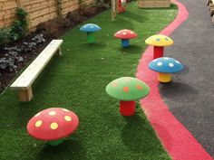 Rubber Toadstools | Playline Playground Equipment £175 ex VAT ***