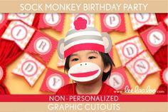 Sock Monkey Birthday Party - Graphic Cutouts NonPersonalized Printable // Sock Monkey - B46Nh via Etsy