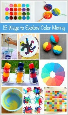 Art for Kids: 15 Cool Ways for Kids to Explore Color Mixing (Color Theory).  So many great ideas that would be perfect for our students with special learning  needs, especially those with sensory issues.  Get all these great ideas at:  http://buggyandbuddy.com/15-ways-for-kids-to-explore-color-mixing/ #coolcraftsforkids