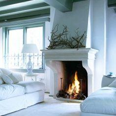 fireplac, white interiors