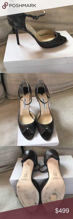 Jimmy Choo Snakeskin heels The sexiest pair of heels ever. Snakeskin peep toe heels with ankle strap. WORN ONCE! Jimmy Choo Shoes Heels