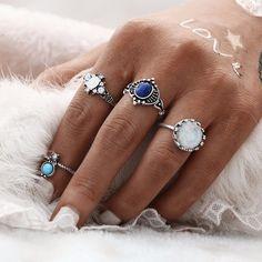 Boho Style Stone Rings 4pcs Set