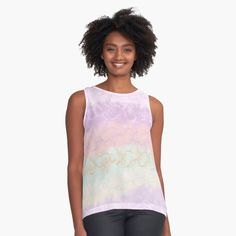 'Touching Coral Pink Abstract Painting ' Sleeveless Top by anitabellajantz White Camo, Grey Clouds, Pink Abstract, Happy Women, Coral Pink, Cool Shirts, Chiffon Tops, Athletic Tank Tops, Fashion Design