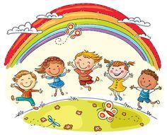 Foto sobre As crianças que saltam com alegria em um monte sob o arco-íris, desenhos animados coloridos. Ilustração de feliz, divertimento, friendship - 48710213