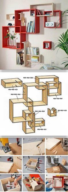 Build Modular Shelves - Furniture Plans and Projects - Woodwork, Woodworking, Woodworking Plans, Woodworking Projects Shelf Furniture, Furniture Plans, Home Furniture, Furniture Design, Modular Furniture, Bedroom Furniture, Woodworking Plans, Woodworking Projects, Modular Shelving