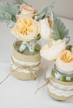 2 Rustic Wedding Centerpieces with Mason Jars by SweetLoveFun, $19.75 -could DIY