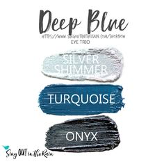 Deep Blue Eye Trio uses three SeneGence ShadowSense : Silver Shimmer, LE Turquoise and Onyx. These creme to powder eyeshadows will last ALL DAY on your eye. #shadowsense #trio #shadowsensetrio #eyeshadow #deepblue
