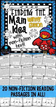 Finding the Main Idea {Winter Edition} 20 winter themed non-fiction reading passages for students to use while they practice finding the main idea and supporting details.