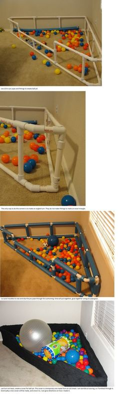 A ball pit using 3/4 in pvc pipe, pool noodles for cushion, pvc glue, and then an old sheet for the cover.