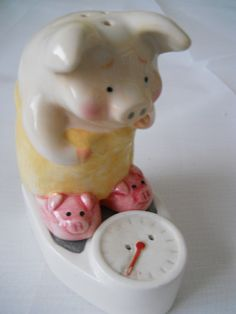 Pig and Scale Salt and Pepper Shakers - vintage, collectible, kitchen, serving, animal by DEWshophere on Etsy