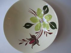 Vintage Southern Potteries Blue Ridge Green Brown Floral Serving Bowl on Etsy, $23.50