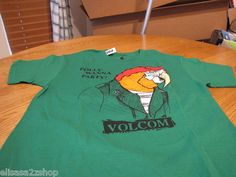 Men's adult Volcom stone t shirt RARE small SM S parrot Polly wanna party green