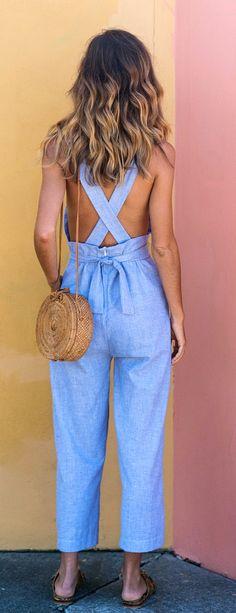 #summer #outfits Blue Jumpsuit + Shoulder Bag