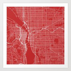 Portland Map, USA - Red Art Print