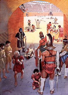 """""""The afternoon show: the Noxii, Pompei, AD 78""""  By Angus McBride."""