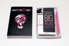 The stationery kit consists out of push pins, 'idea' themed bookmarks, 'idea' themed postcards, an 'idea' themed kraft notebook and a branded electric pink pencil. Corporate Branding, Corporate Gifts, Table Seating Cards, What's The Big Idea, Lightbulb, Stationery Design, Instagram Shop, Bookmarks, Postcards
